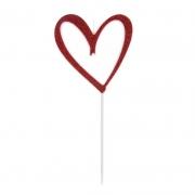 Vela Coração Vazado Com Glitter Vermelha