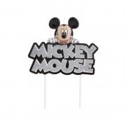 Vela de Aniversário Mickey Colorida com Glitter Prata