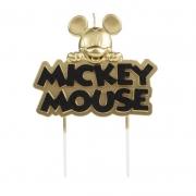 Vela de Aniversário Mickey Metalizada Dourada