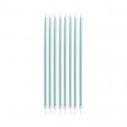 Velas De Aniversário Palito Azul Metalizada