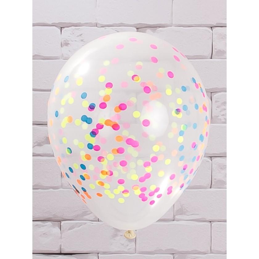 Balão de Látex Transparente com Confete Impresso Balloontech 12 unidades