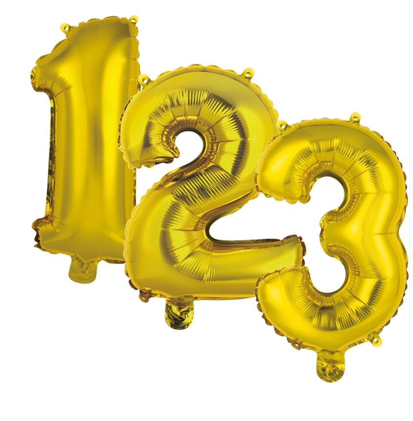 """Balão Metalizado Dourado 16"""" Números"""