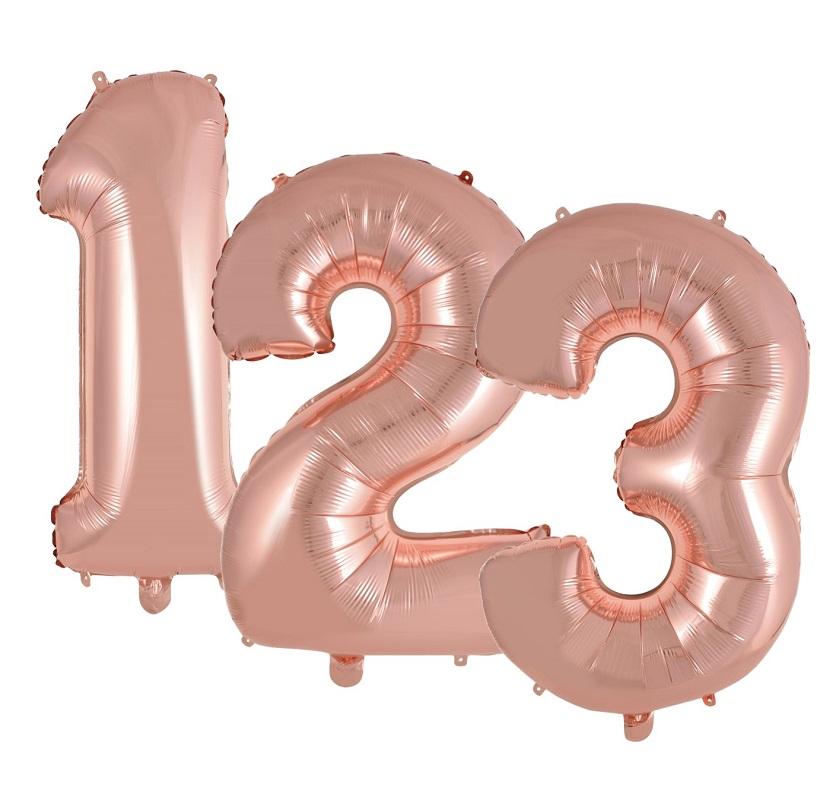 """Balão Metalizado Rose Gold 16"""" Números"""