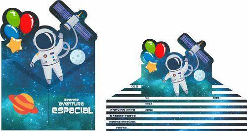 Convite Festa Astronauta 08unid Duster