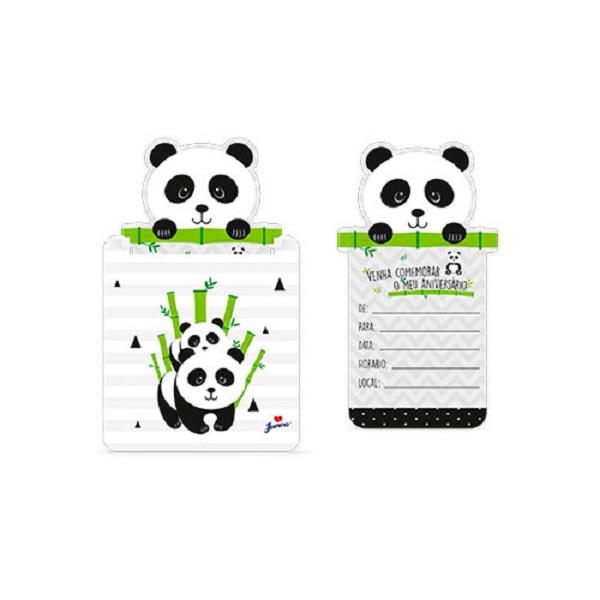 Convite Festa Panda 8 unidades