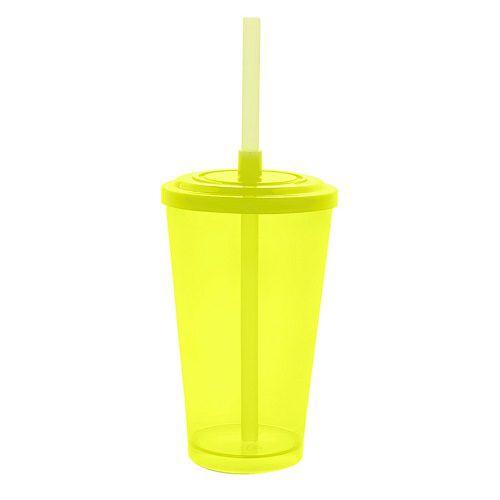Copo Acrílico Caldereta 500ml c/ Tampa e Canudo Bezavel Amarelo Neon