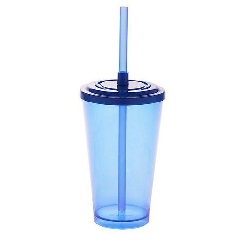 Copo Acrílico Caldereta 500ml c/ Tampa e Canudo Bezavel Azul Neon