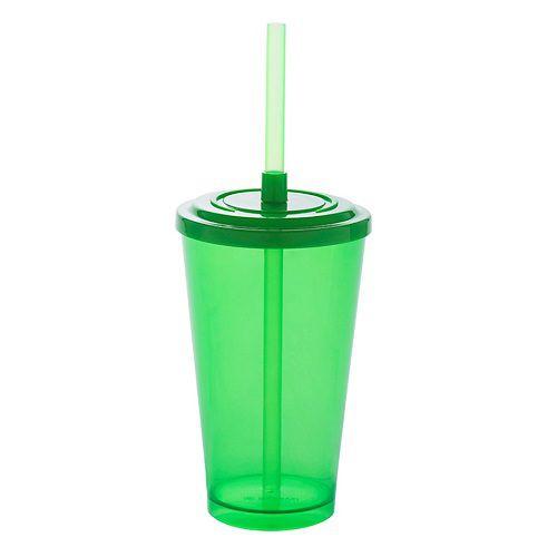 Copo Acrílico Caldereta 500ml c/ Tampa e Canudo Bezavel Verde Neon
