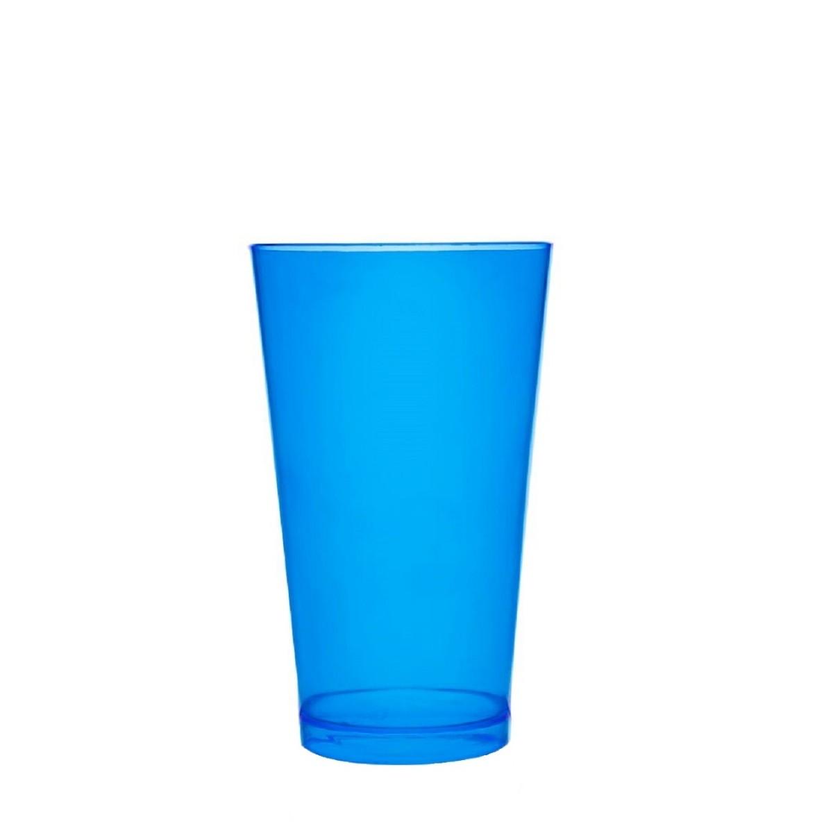 Copo Acrilico Caldereta 500ml Transparente Azul Neon Bezavel