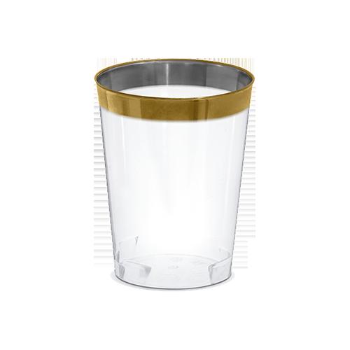 Copo Descartável 300ml 6unid Incolor com Borda Dourada