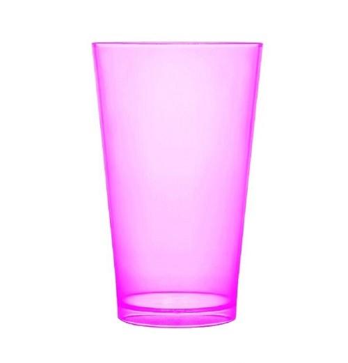 Copo Acrilico Caldereta 500ml Transparente Rosa Neon