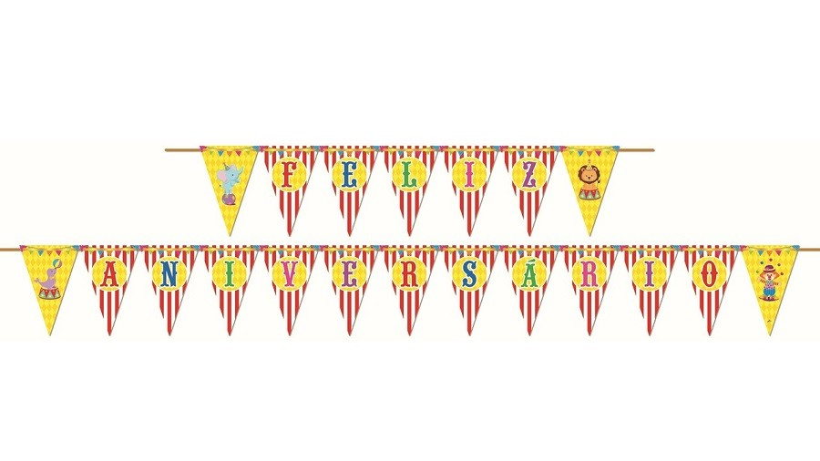 Faixa Decorativa Feliz Aniversario Festa Circo Magico Junco