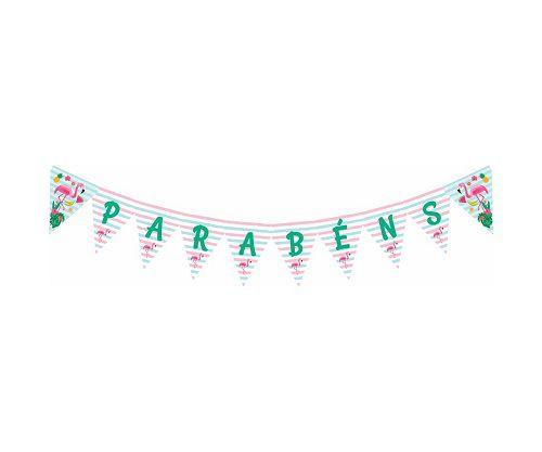 Faixa Decorativa Parabéns Festa Flamingo Duster