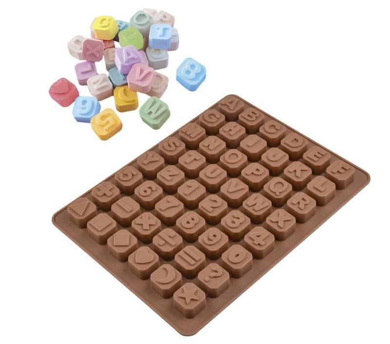 Forma de Silicone para Chocolate Letras e Números