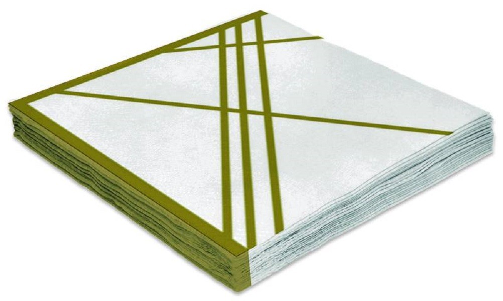 Guardanapo Folha Dupla 33x33cm Branco e Dourado 20 unidades