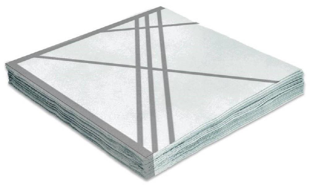 Guardanapo Folha Dupla 33x33cm Branco e Prata 20 unidades