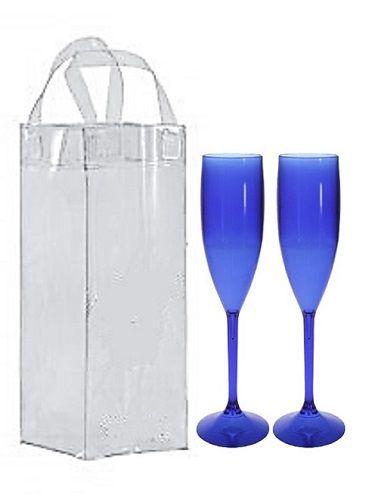 Kit com 2 taças champanhe acrílicas e 1 Icebag - Várias Cores