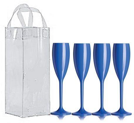 Kit com 4 taças acrílicas para champanhe Duracril e 1 Icebag - Várias Cores