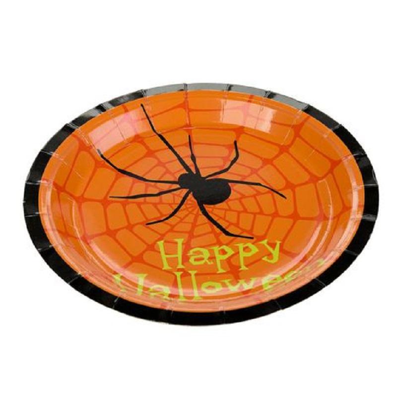 Prato De Papel Halloween Aranha 10 Unidades