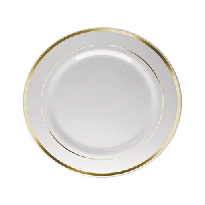 Prato Sobremesa Borda Dourada 6 unidades