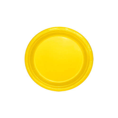 Prato Sobremesa Descartável Amarelo 10unid Happyline