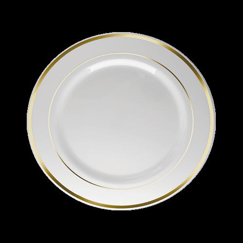 Prato Refeição Descartável Branco com Borda Dourada 12unid