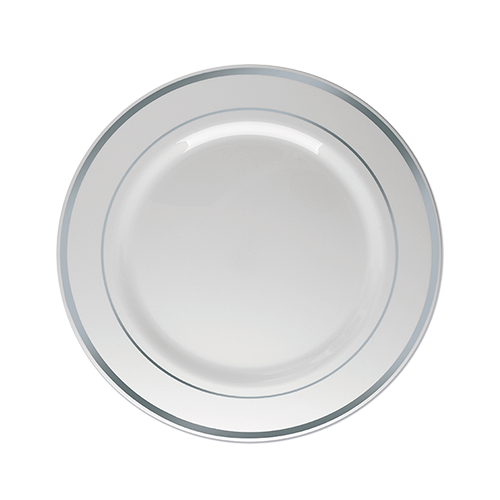 Prato Sobremesa Descartável Branco com Borda Prata 06unid
