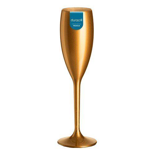 Taça Acrílica para Champanhe 160ml Duracril Dourada 06unid