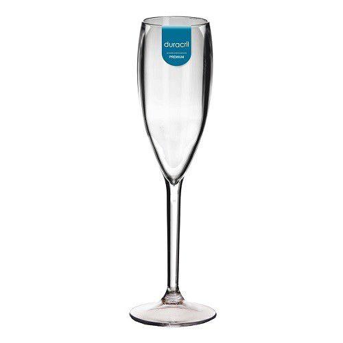 Taça Acrílica para Champanhe 160ml Duracril Transparente 06unid