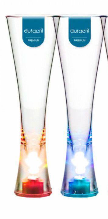 Taça Acrílica para Champanhe Paris LED 180ml Transparente Duracril