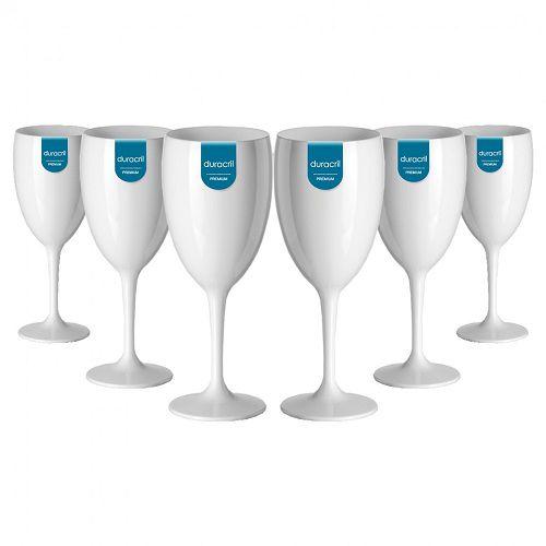 Taça Acrílica para Vinho 400ml Duracril Branca 12unid