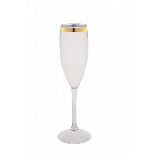 Taça Acrílica para Champanhe 150ml Incolor com Borda Dourada Bezavel
