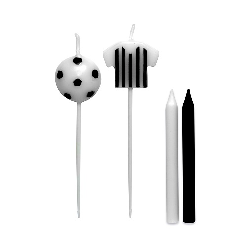 Vela de Aniversário Camisa Futebol Preto e Branco Silverplastic