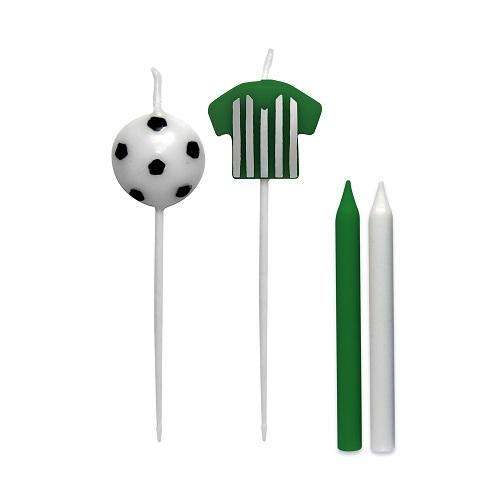 Vela de Aniversário Camisa Futebol Verde e Branco Silverplastic