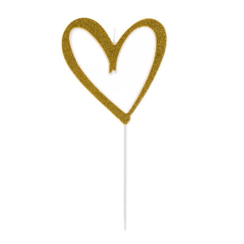 Vela Coração Vazado Com Glitter Dourada