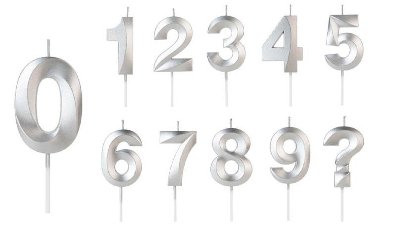 Vela de Aniversário Design Número Prata