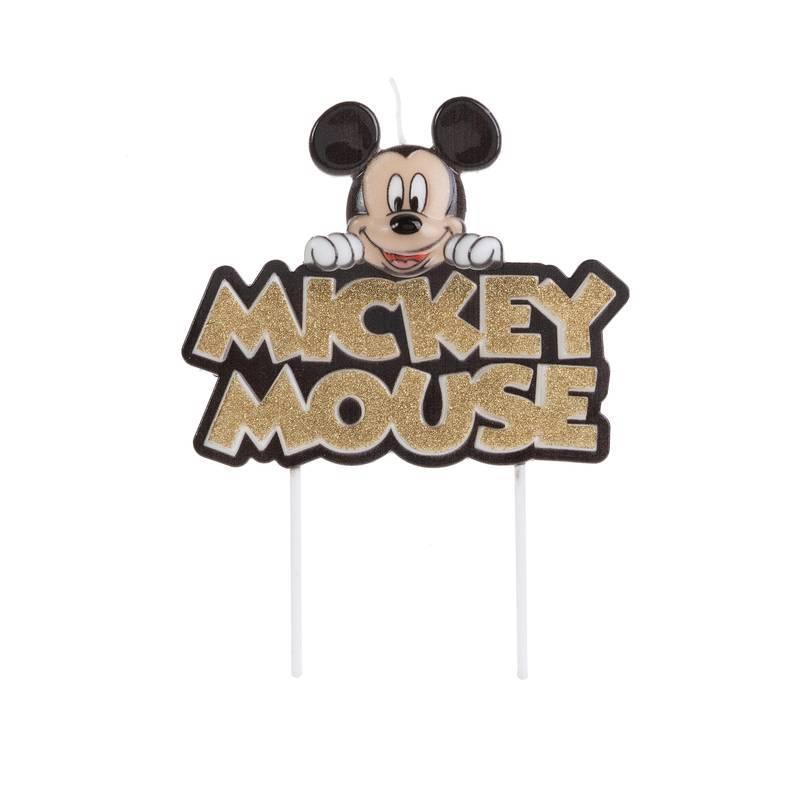 Vela de Aniversário Mickey Colorida com Glitter Dourado