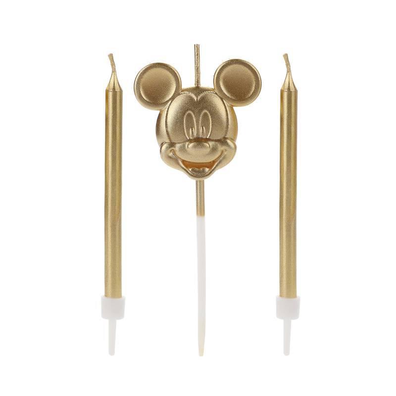 Vela De Aniversário Rosto Mickey Dourada