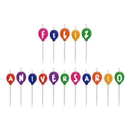 Vela de Aniversário Balões Silverplastic