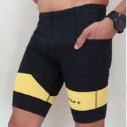 Bermuda de Compressão Masculina Preto Amarelo