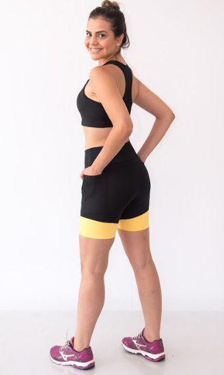 Bermuda Feminina Cós Alto Preto/Amarelo