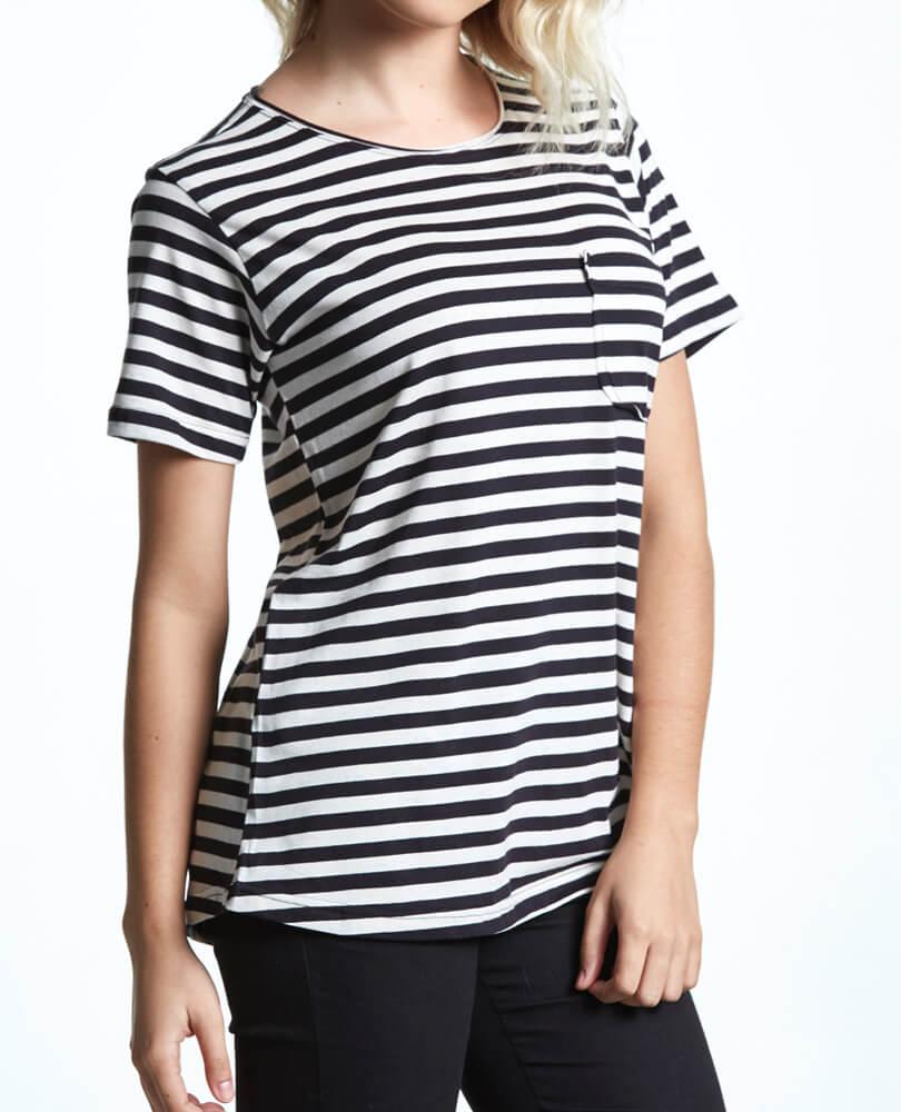 4a7e9e63ff Camiseta Feminina Listrada Preto Cru