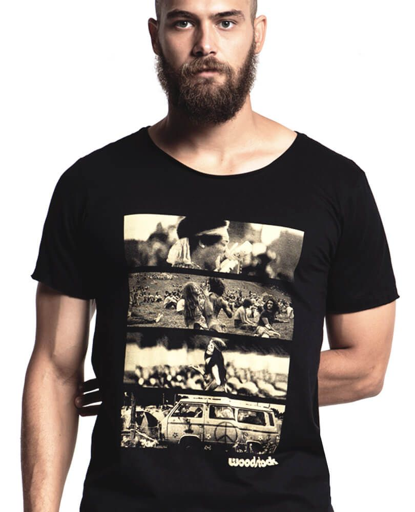 cf768bac6 A camiseta Woodstock STM é um clássico nesta loja de camisetas. Homenageia  o festival de música mais famoso de todos os tempos com muito estilo.