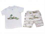 Conjunto Masculino Camisa + Bermuda  Dinossauros