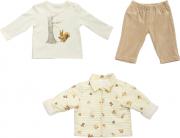 Conjunto Casaco Fofinho + Camisa Manga Longa + Calça Masculino Esquilo Com Listras