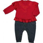 Macacão Feminino Manga Longa Cotton Vermelho + Jeans Comfort Denim