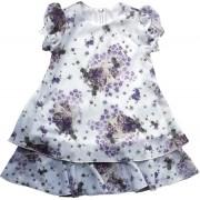 Vestido Feminino Manga Curta Chiffon Violetas