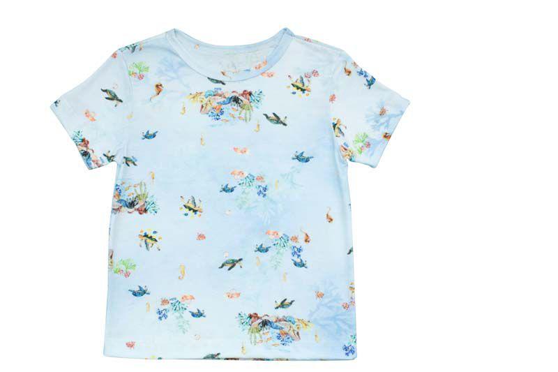 Camisa Masculina Abertura no Ombro Estampa Digital Tartarugas