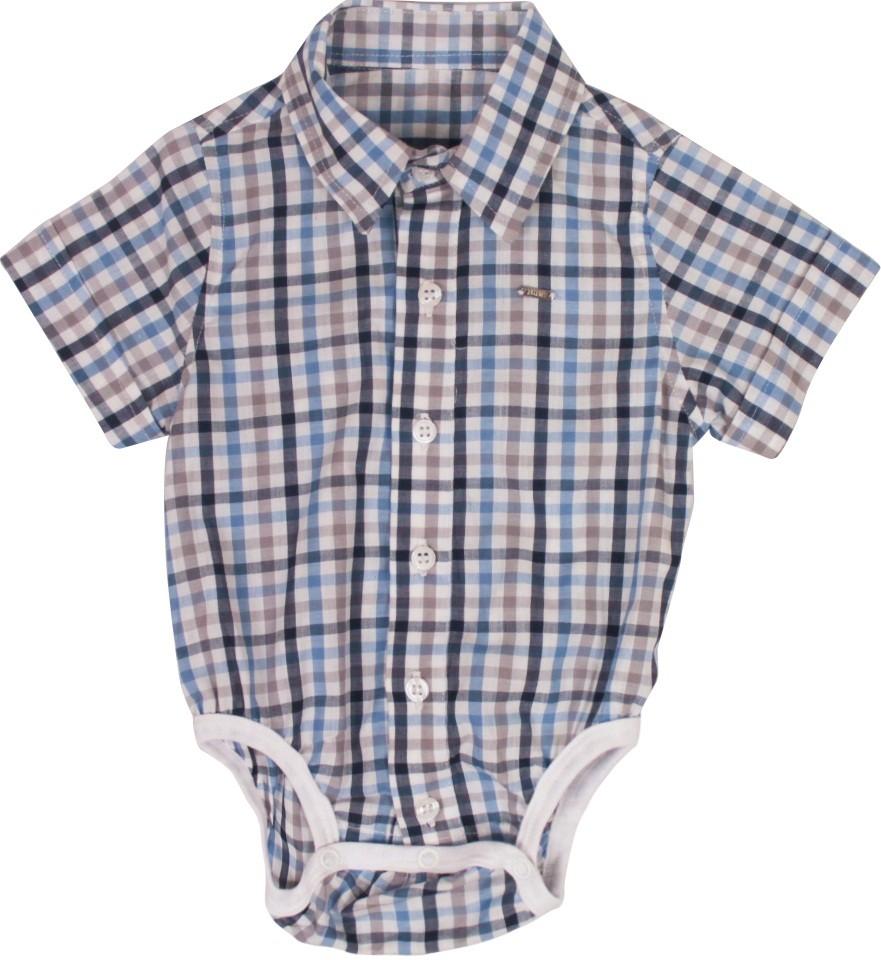 Body Camisa Masculino Manga Curta Tricoline Xadrez