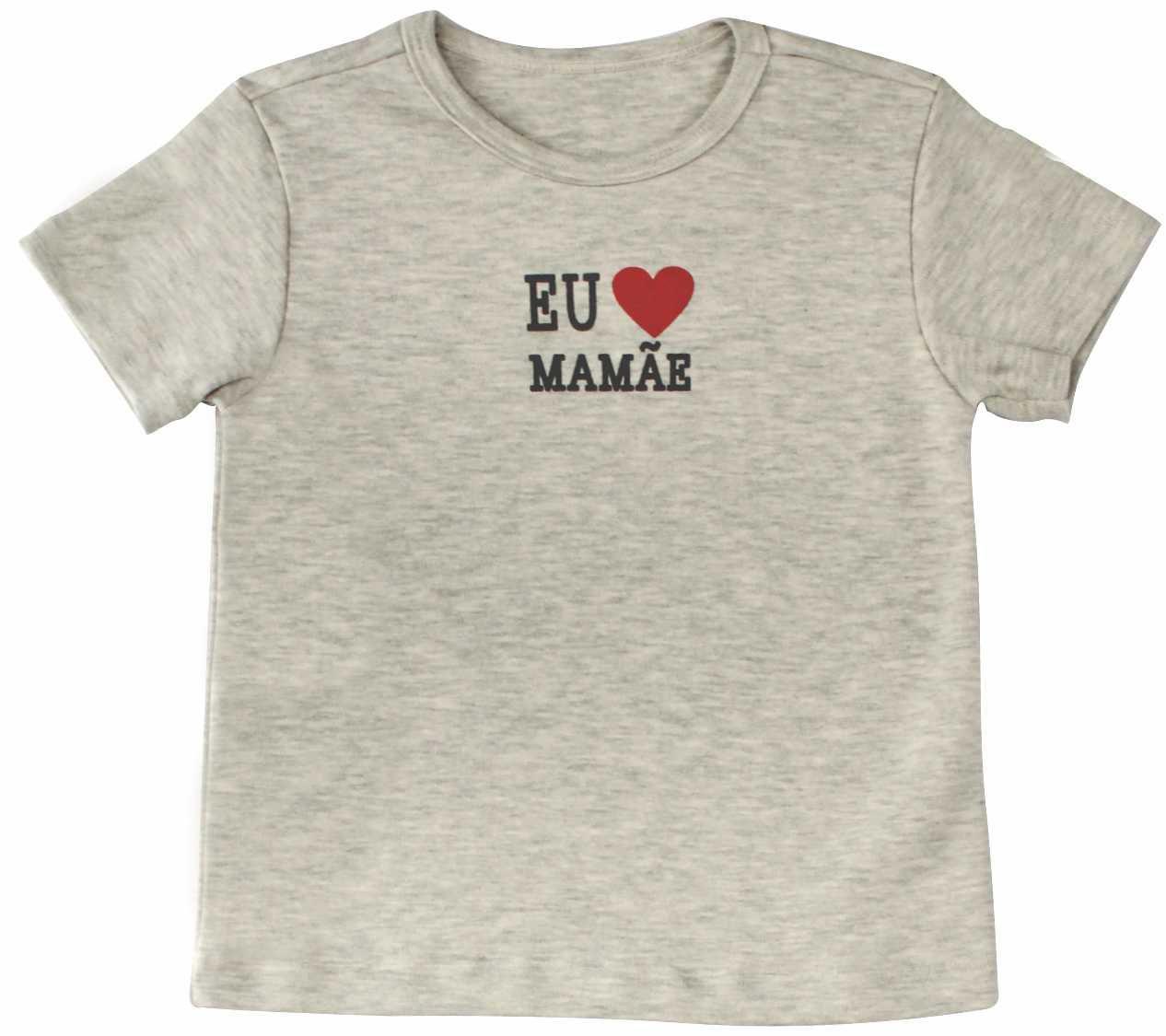 Camisa Unissex Manga Curta Eu Amo a Mamãe BY BIBE